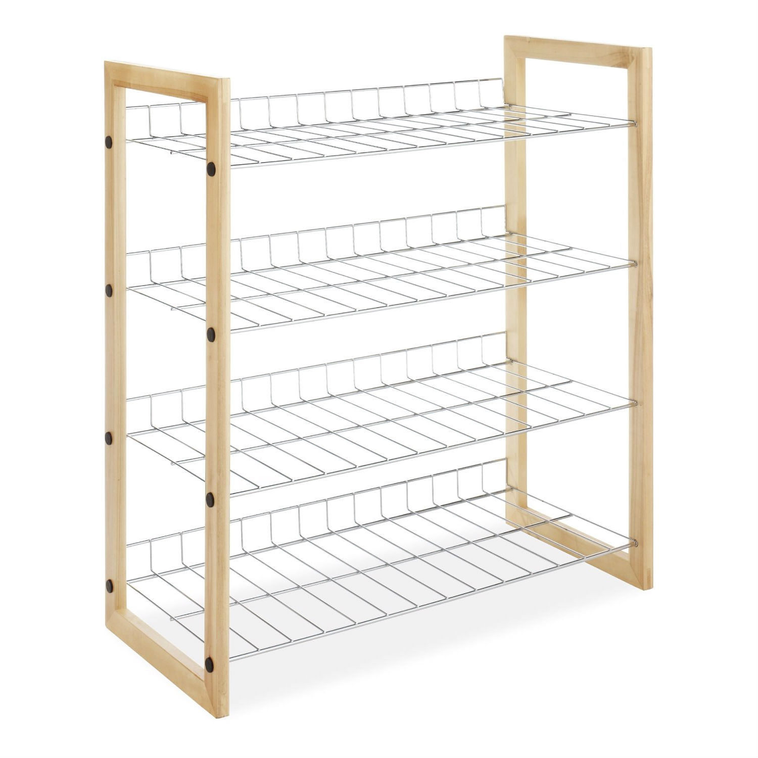 4 Shelf Closet Shoe Rack With Natural Wood Frame And Chrome Wire Shelves Fastfurnishings