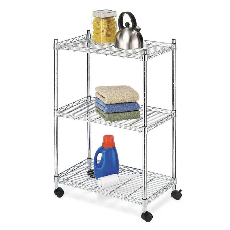 Beautiful 3 Tier Metal Cart On Wheels For Kitchen Microwave Bathroom Garage