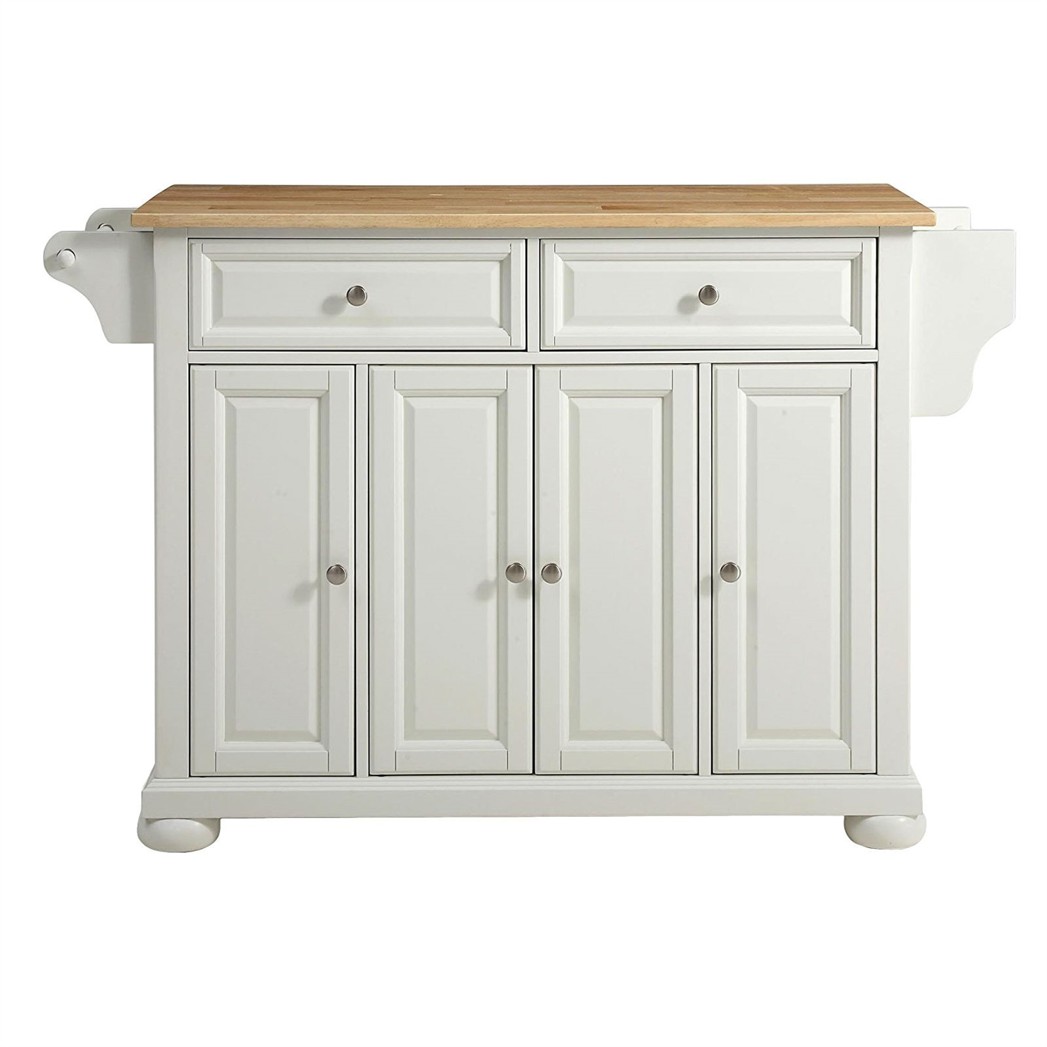 White Kitchen Island Storage Cabinet With Solid Wood Top Fastfurnishings Com