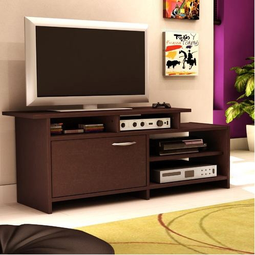 52 Inch Modern Tv Stand In Chocolate Finish Fastfurnishings Com