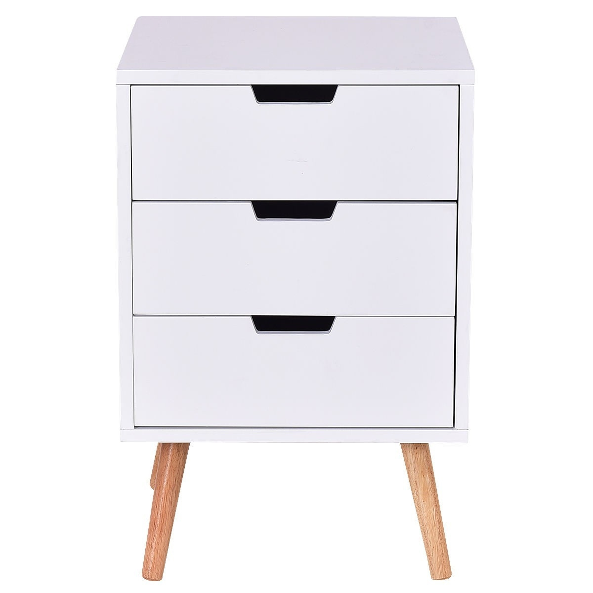 Modern Mid Century Style 3 Drawer White Wood End Table Nightstand Fastfurnishings Com