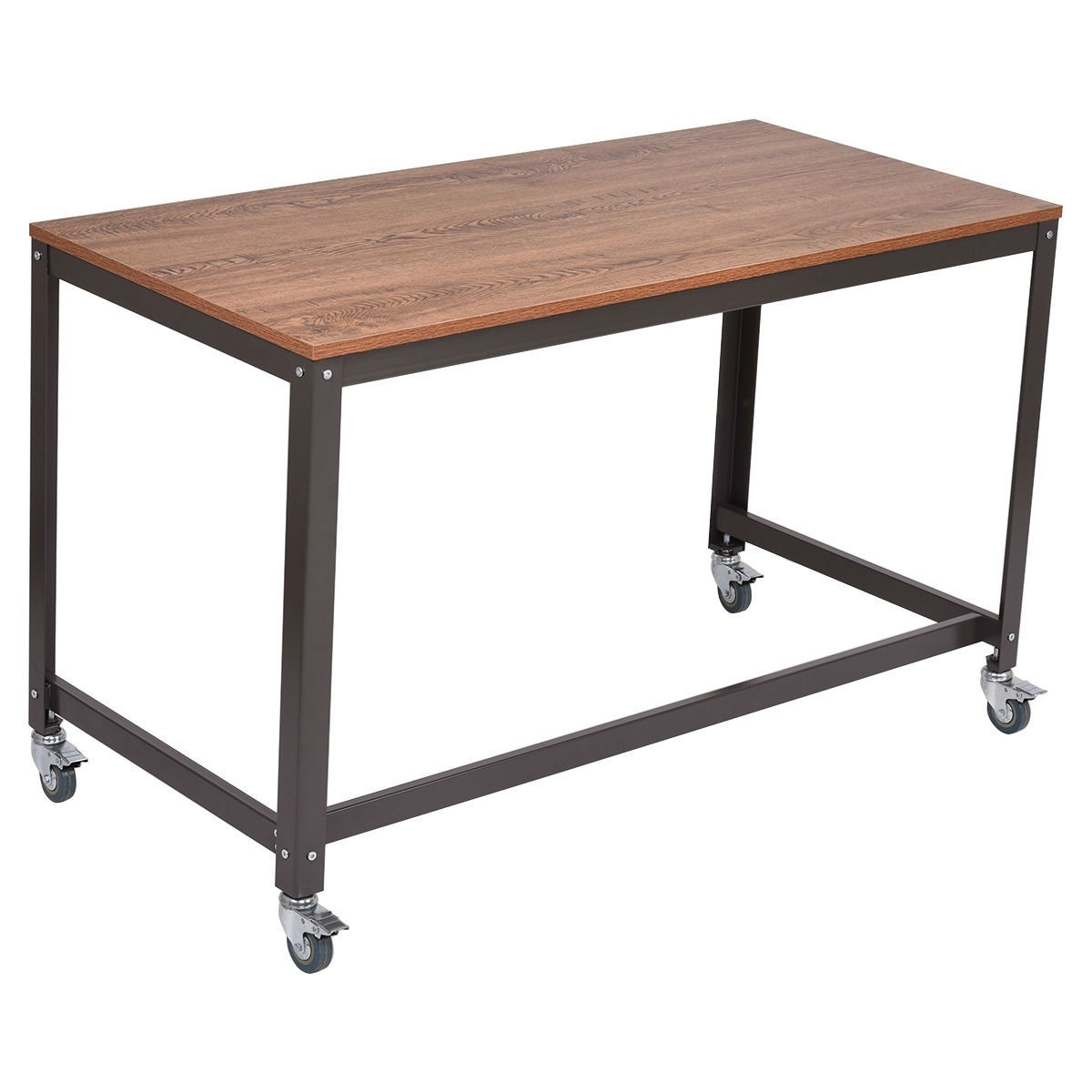 Industrial Modern Steel Frame Wood Top Computer Desk With