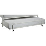 Twin size Roll Out Trundle Bed Frame in White Metal
