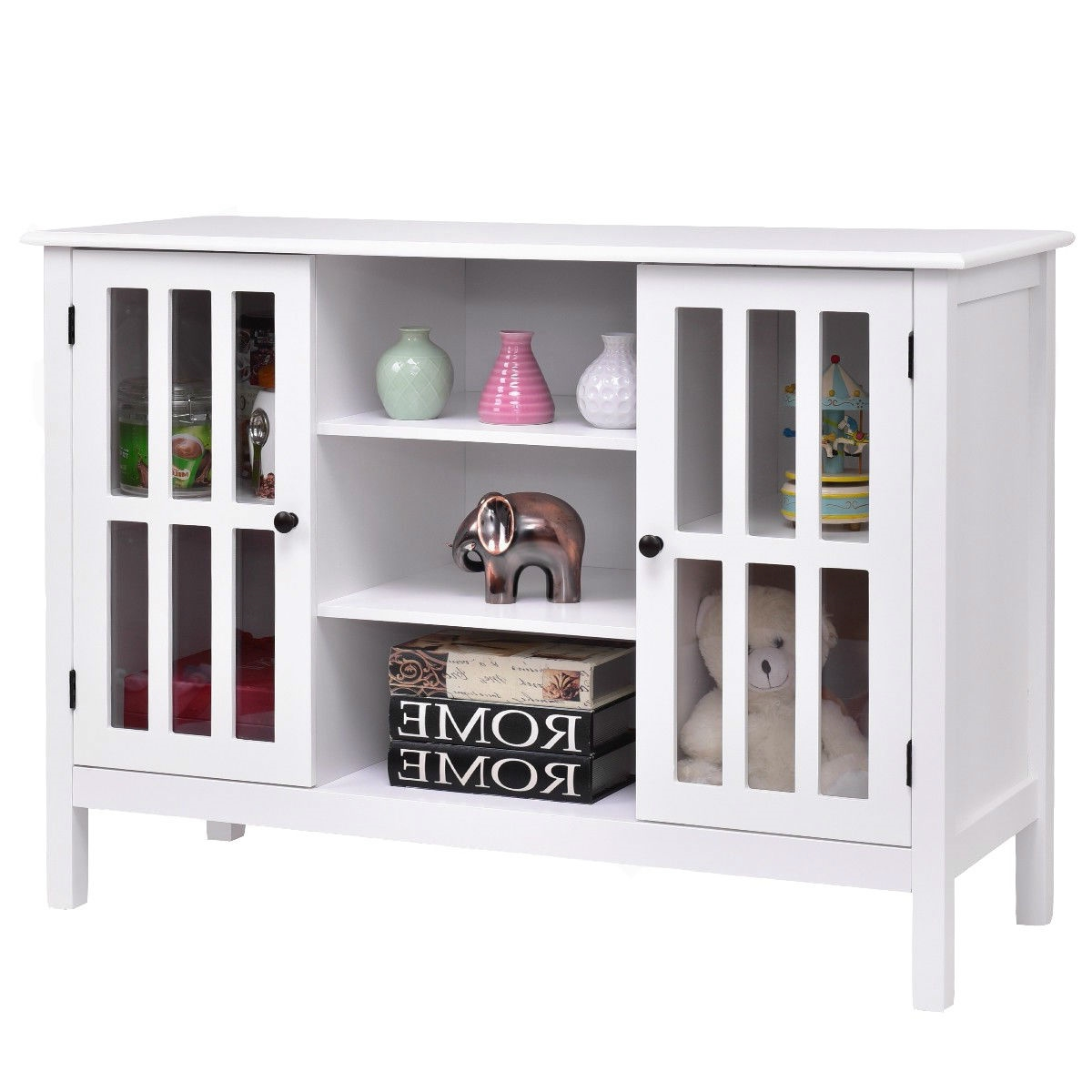 Super White Wood Sofa Table Console Cabinet With Tempered Glass Panel Doors Home Interior And Landscaping Mentranervesignezvosmurscom