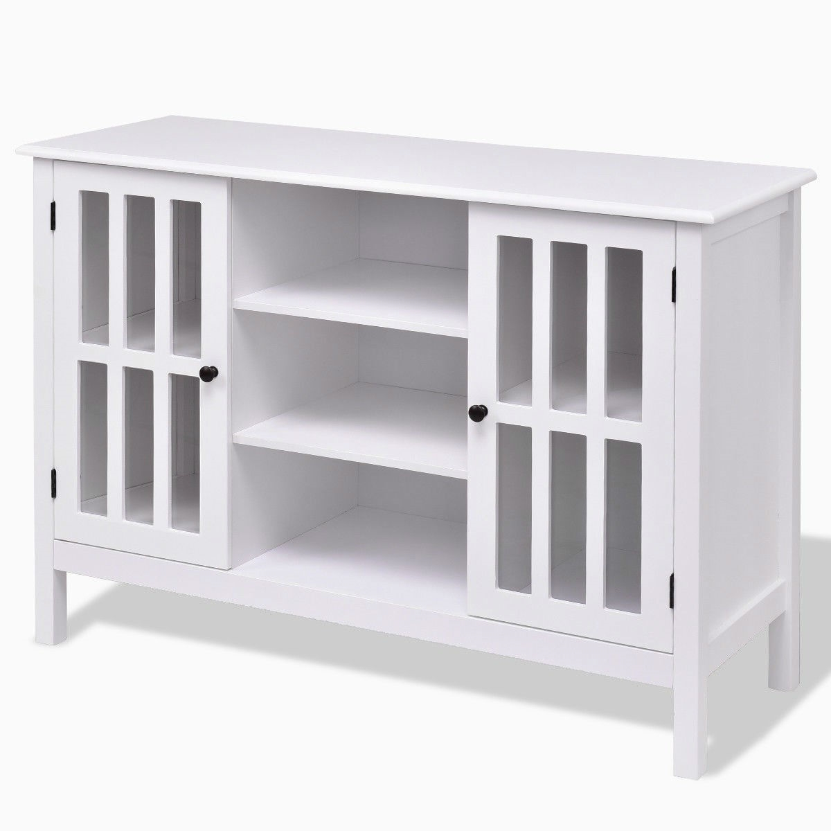 White Wood Sofa Table Console Cabinet With Tempered Glass Panel