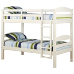 White Wood Twin over Twin Bunk Bed with Ladder and Guardrail