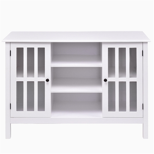 White Wood 43-inch TV Stand with Glass Panel Doors