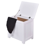 Bathroom Laundry Hamper Clothes Storage Cabinet in White