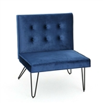Navy Blue  Velvety Soft Upholstered Polyester Accent Chair Black Metal Legs
