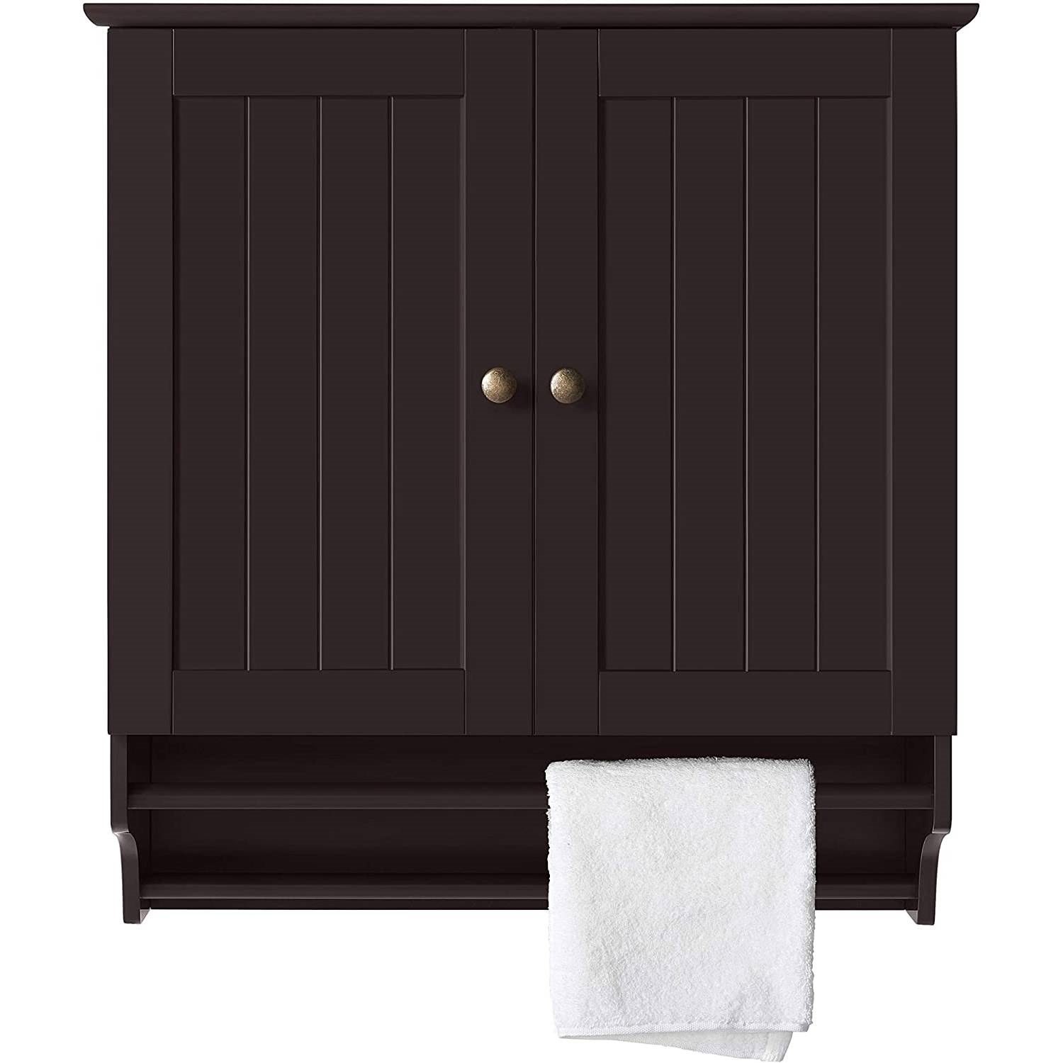 Espresso 2 Door Bathroom Wall Cabinet Cupboard With Towel Bar