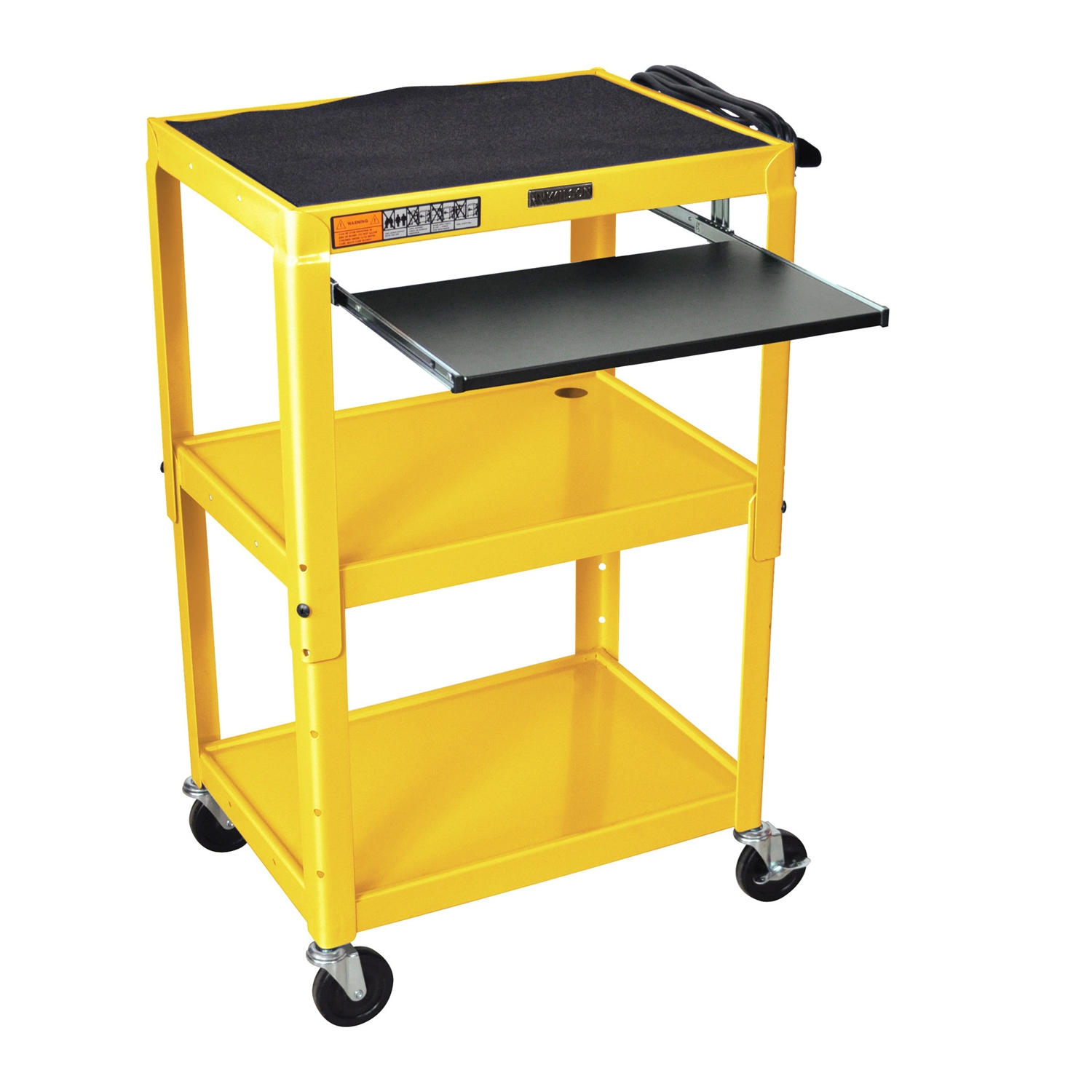 Yellow Compact Mobile Standing Computer Cart Workstation Desk