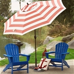 Outdoor 9-Ft Metal Patio Umbrella with Tilt and Crank Lift in Red and White Stripe