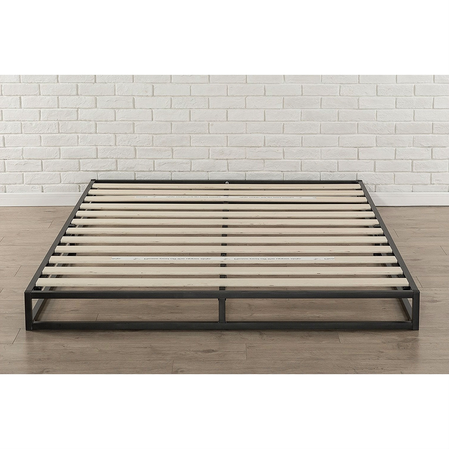 queen size 6-inch low profile metal platform bed frame with wooden