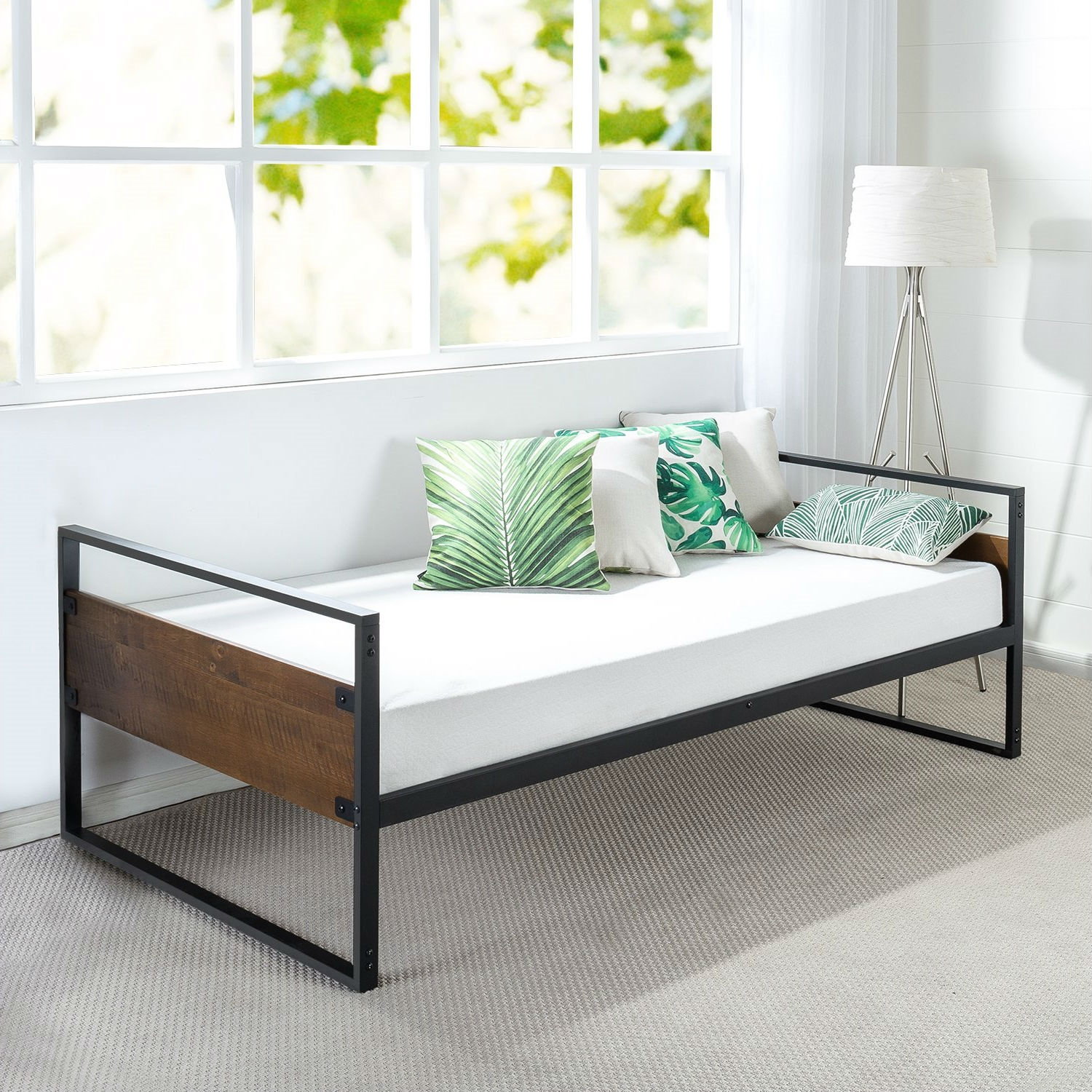Twin Modern Wood Metal Daybed Frame with Steel Slats ...