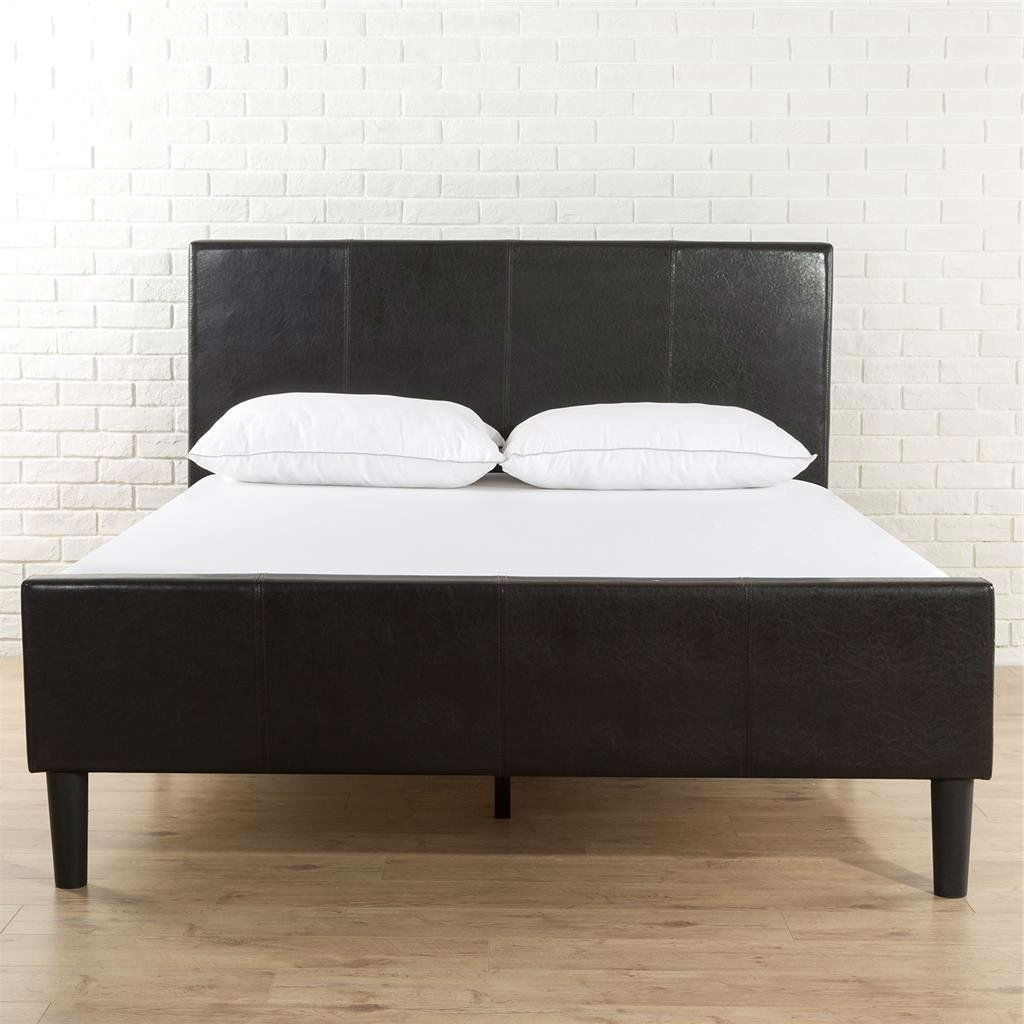 King Size Dark Brown Espresso Faux Leather Platform Bed With Upholstered  Headboard And Footboard