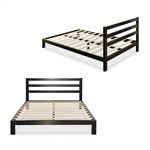 Full size Heavy Duty Metal Platform Bed Frame with Headboard and Wood Slats