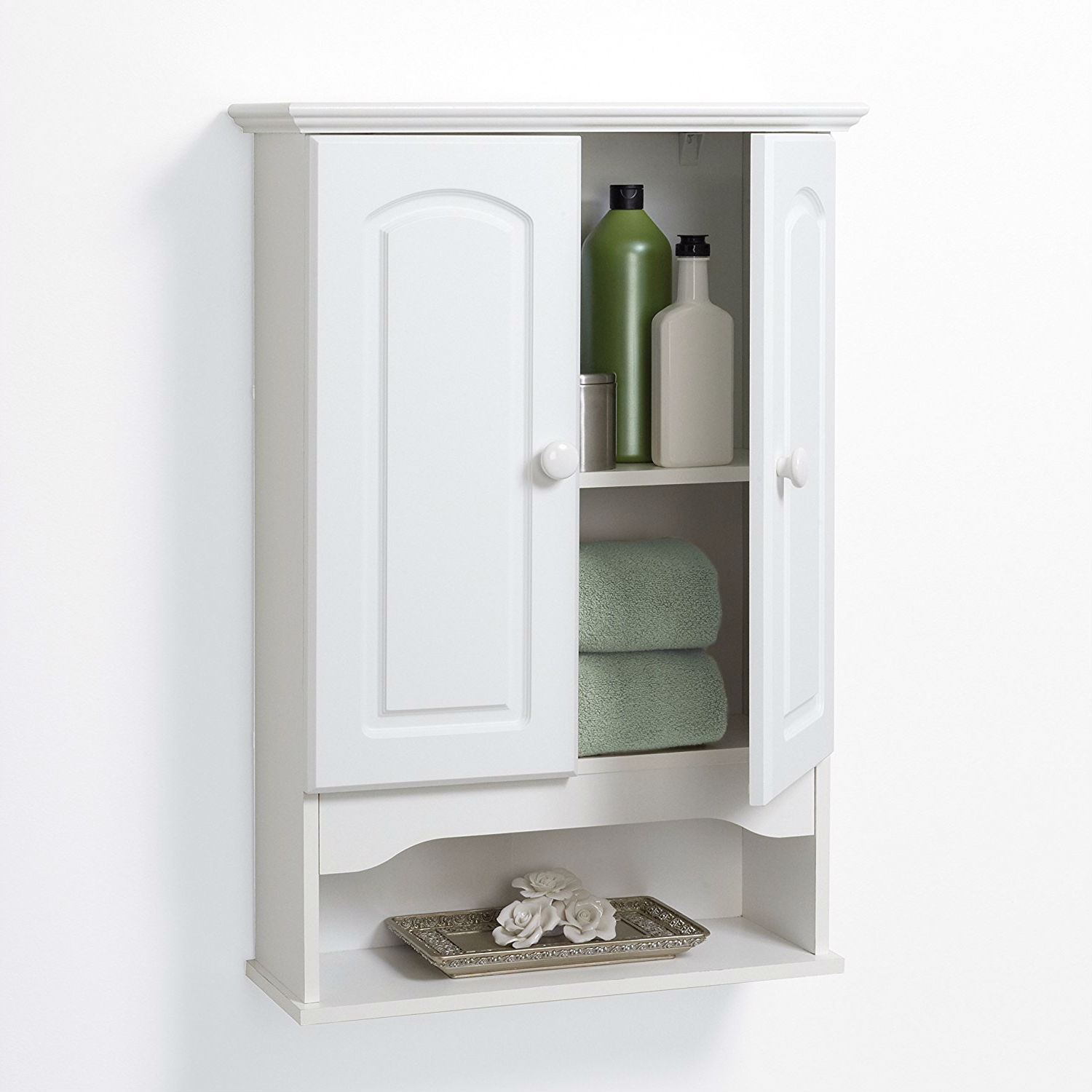 White 2 Door Bathroom Wall Cabinet With Open Storage Shelf