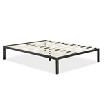 Full Size Modern Black Metal Platform Bed Frame with Wood Slats
