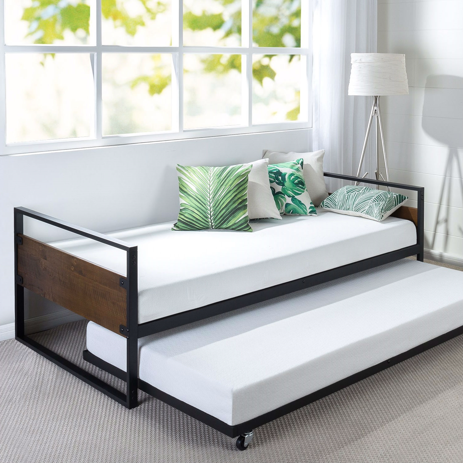 Twin size Metal Wood Daybed Frame with Roll Out Trundle Bed ...