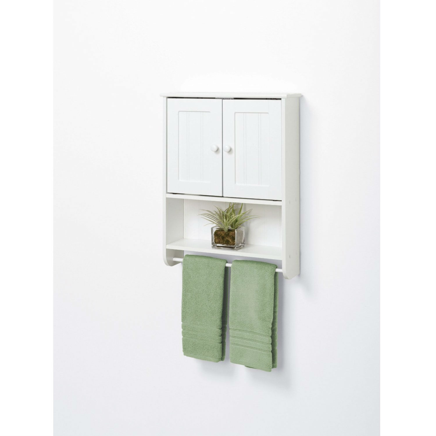 Retail Price $89.00  sc 1 st  FastFurnishings.com & Wall Mount Bathroom Cabinet with Towel Bar in White Finish ...
