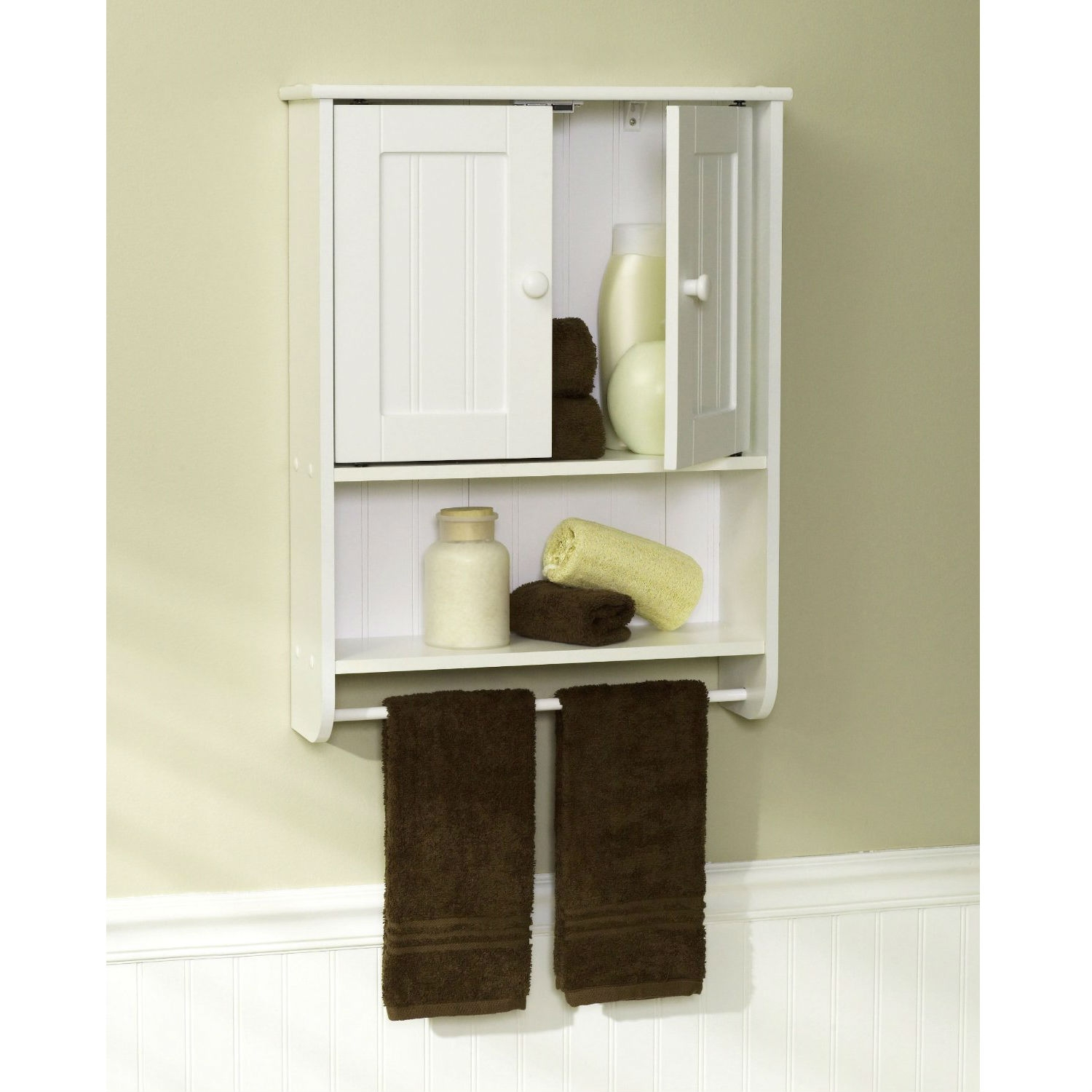 Wall Mount Bathroom Cabinet with Towel Bar in White Finish ...