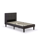 Twin size Classic Grey Fabric Upholstered Platform Bed with Padded Headboard