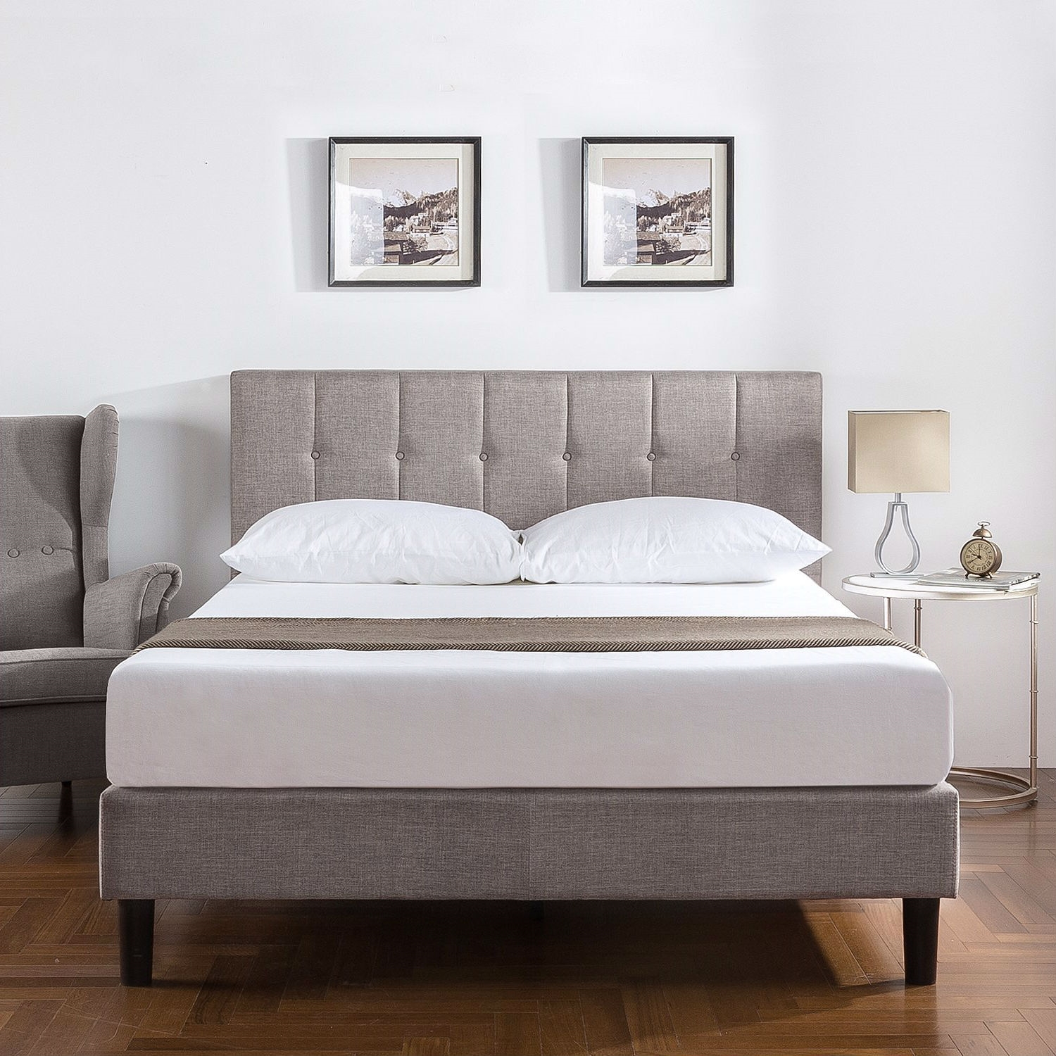 King Medium Grey Upholstered Platform Bed Frame With Button Tufted Headboard Fastfurnishings Com