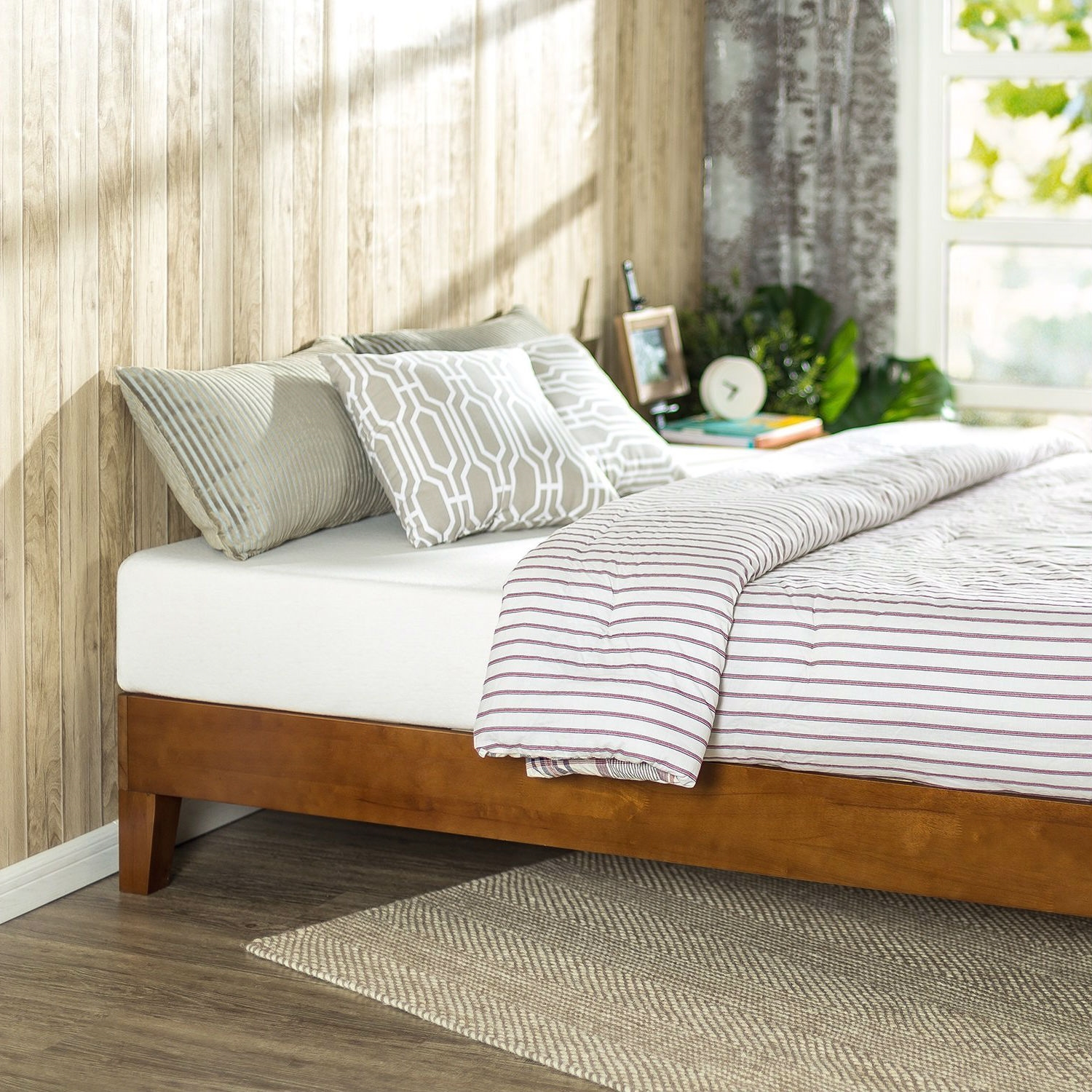 Twin size Low Profile Wooden Platform Bed Frame in Cherry ...