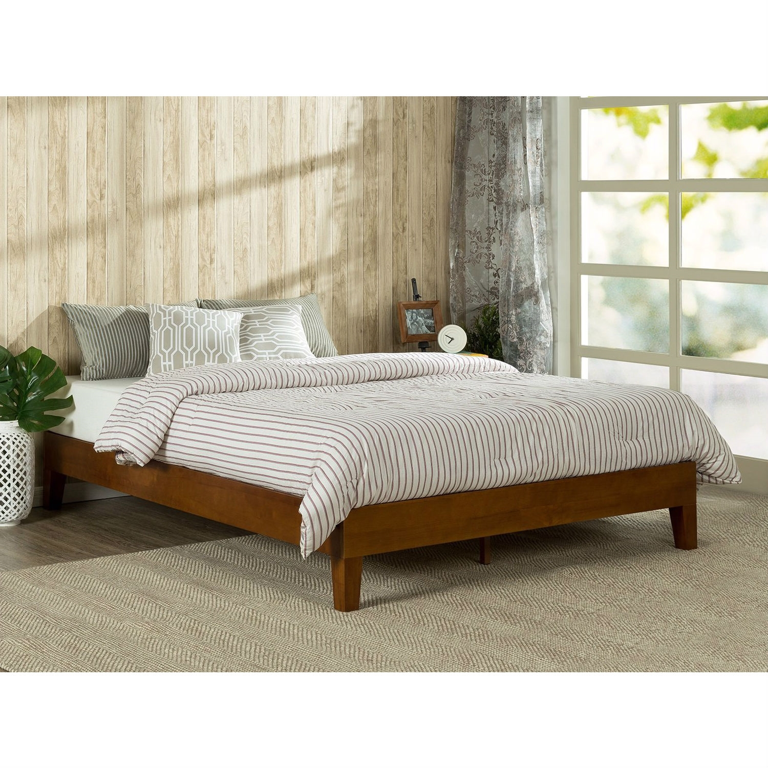 Twin Size Low Profile Wooden Platform Bed Frame In Cherry