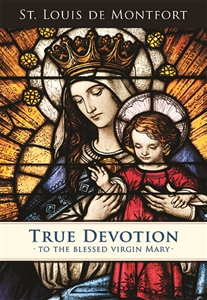 The cover of this edition of True Devotion to the Blessed Virgin Mary features a photograph of the Queen of All Hearts Window from St. Mary Gate of Heaven Church in Ozone Park, NY.