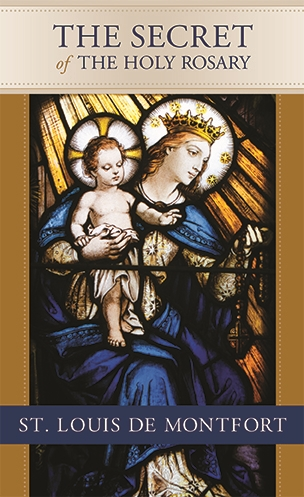 The cover of this edition of the Secret of the Rosary features a photograph of the Our Lady of the Rosary stained glass window in St. Mary Gate of Heaven Church in Ozone Park, NY.