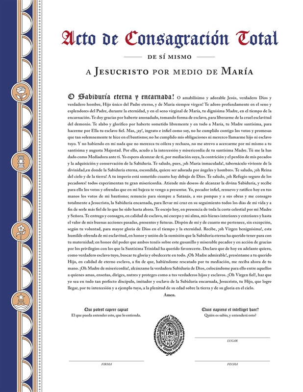 Consecration Certificate Spanish