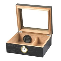 Glass Top Black Oak Desktop Humidor - 25 cigar