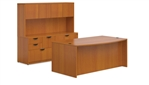 Superior Laminate Bow Front Desk with Filing Hutch Suite - Layout SL-J from Global