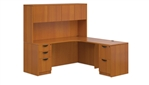Superior Laminate Extended Corner Credenza L-Shaped Suite with Hutch - Layout SL-L from Global