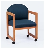 Classic Round Back Series: Sled Base Guest Chair with Casters - Healthcare Vinyl - C1301C3