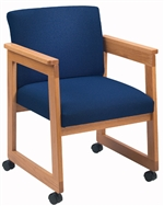 Classic Extended Arm Series: Tapered Arm Sled Base Guest Chair with Casters - Healthcare Vinyl - C1401D4