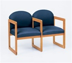 Classic Round Back Series: 2 Seats with Center Arm and Sled Base - Healthcare Vinyl - C2303G3