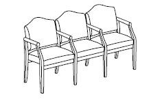Ashford Series: 3 Seats with Center Arms - D3103G5