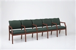 Franklin Series: 5 Seats with Center Arms - Healthcare Vinyl - D5853K5