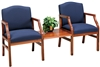 Hartford Series: 2 Chairs with Connecting Center Table - Healthcare Vinyl - H2111G5