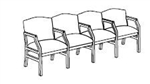 Hartford Series: 4 Seats with Center Arms - Healthcare Vinyl - H4103G5