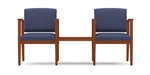 Amherst Open Arm Series: 2 Chairs with Connecting Center Table - Healthcare Vinyl - K2411G5