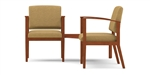Amherst Open Arm Series: 2 Chairs with Connecting Corner Table - Healthcare Vinyl - K2421G5