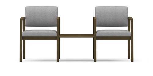 Lenox Open Arm Series: 2 Chairs With Connecting Center Table (Solid Wood)