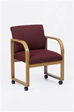Contour Full Back Series: Sled Base Guest Chair with Casters - Healthcare Vinyl - R1401C3