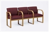 Contour Full Back Series: 3 Seats with Center Arms and Sled Base - Healthcare Vinyl - R3403G3