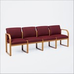 Contour Full Back Series: Sled Base 4 Seat Sofa - Healthcare Vinyl - R4401G3