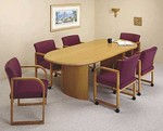 8ft Oval Conference Table with Curved Panel Base