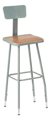 "31-39""Ht. Adjustable Lab Stool with Square Hardboard Seat and Backrest from National Public Seating"